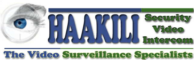 Haakili Logo located at the top of the page. Design includes a human eye, to represent security and the words, Haakili Security Video Intercom, The Video Surveillance Specialists.