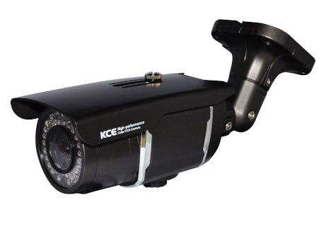 An image of the black KCE SBTI1445D full body surveillance security camera. Fitted with the base mount.