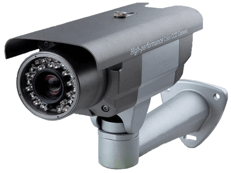 An image of the gun metal grey and silver KCE 1550E full body surveillance security camera. Fitted with the base mount.