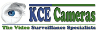 KCE Cameras Logo located at the top of the page. Design includes a human eye, to represent security and the words, KCE Cameras, The Video Surveillance Specialists.