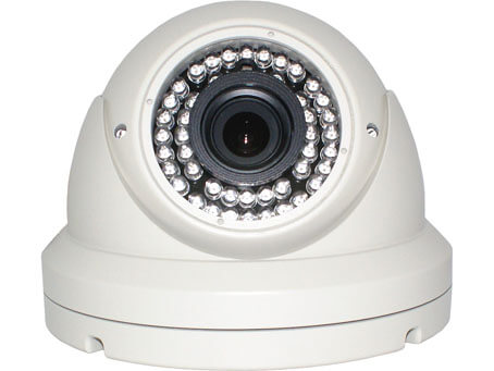 An image of the white KCE DI1245V dome body surveillance security camera. Fitted with the IR around the lens.