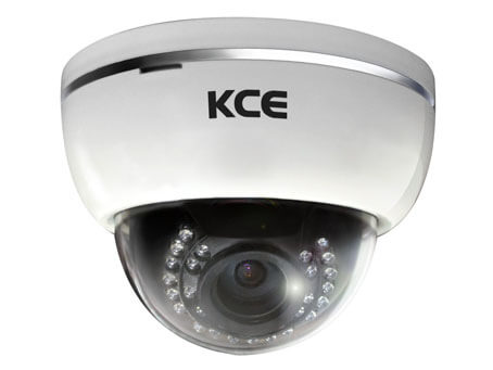An image of the white KCE ND1230D dome body surveillance security camera. Fitted with the IR around the lens.