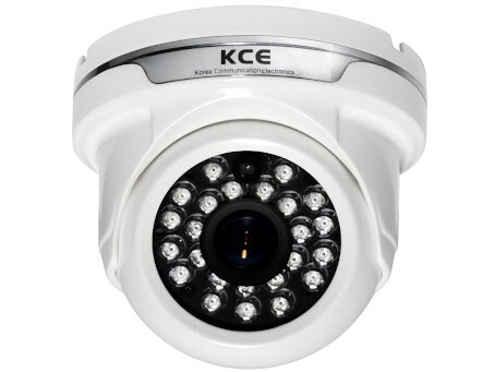 An image of the white KCE SPI1224 dome body surveillance security camera. Fitted with the IR around the lens.