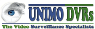 UNIMO DVRs Logo located at the top of the page. Design includes a human eye, to represent security and the words, UNIMO DVRs, The Video Surveillance Specialists.